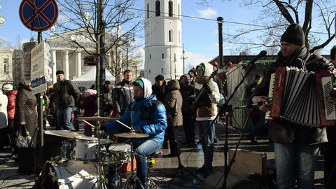 musicians play music drums accordion street festival people Stock Video Footage