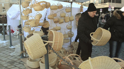people choose wicker basket outdoor crafts market fair Footage