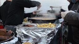 pea potato food meal bake pan people buy event food industry Stock Video Footage