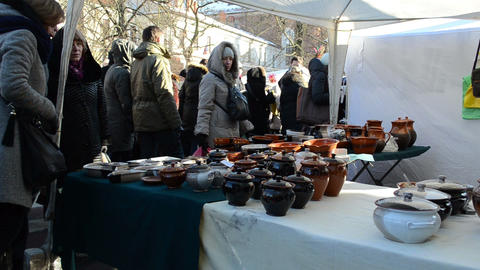 people crockery pots goods national spring fair event craft Stock Video Footage
