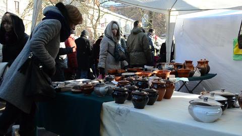 people crockery pots goods national spring fair event craft Footage