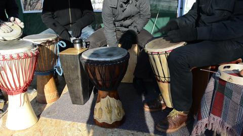 musician people play wood handmade drum outdoor spring... Stock Video Footage