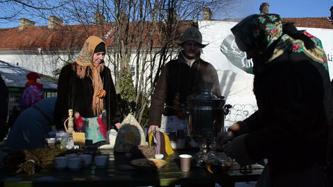 people make hot tea old retro equipment tool spring event Stock Video Footage