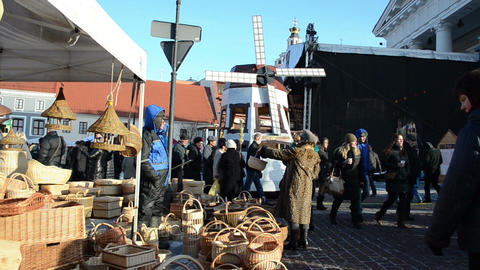 merchant sell wicker baskets decor people spring kaziukas... Stock Video Footage