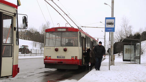 public transport trolley flags national holiday stop... Stock Video Footage
