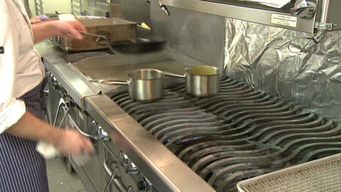 Skilled Chef frying food (5 of 5) Stock Video Footage