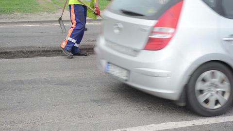 asphalt mill machine scrape street cover worker brush Stock Video Footage