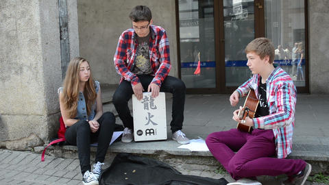 teenagers play drum guitar sing and public audience in... Stock Video Footage