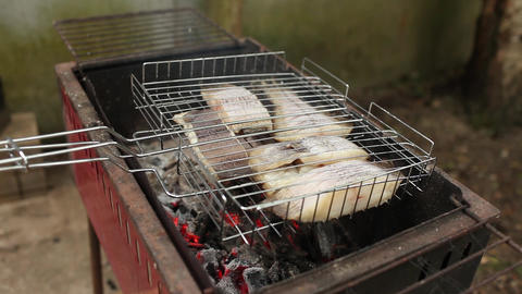 Cooking fish on the coals Stock Video Footage