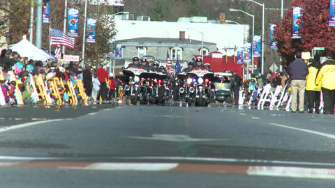 Police motorcade during a fall parade (6 of 8) Stock Video Footage