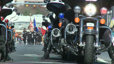 Police motorcade during a fall parade (4 of 8) Footage