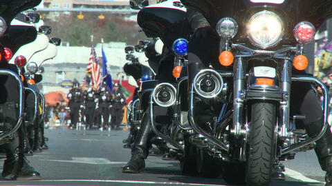 Police motorcade during a fall parade (4 of 8) Stock Video Footage