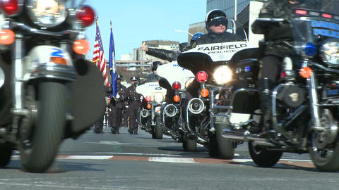 Police motorcade during a fall parade (2 of 8) Stock Video Footage