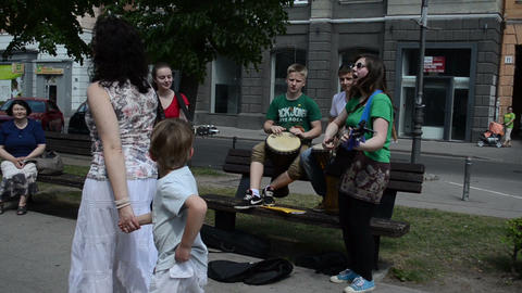 cheerful kids band play guitar and drum instruments and sign Stock Video Footage