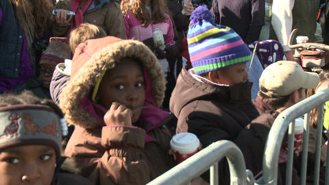 Children drink hot chocolate waiting for parade Stock Video Footage