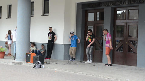 teenagers perform beat music sounds public street people... Stock Video Footage