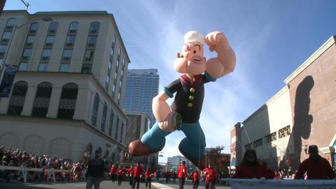 Popeye balloon at parade (2 of 2) Footage