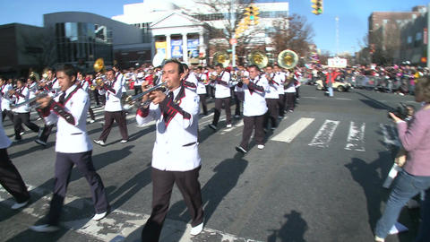 Latin marching band plays festive music (2 of 2) Stock Video Footage