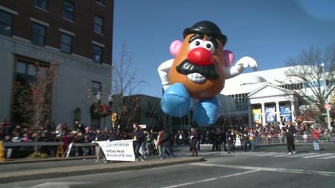 Mr. Potato Head balloon at parade (2 of 2) Stock Video Footage