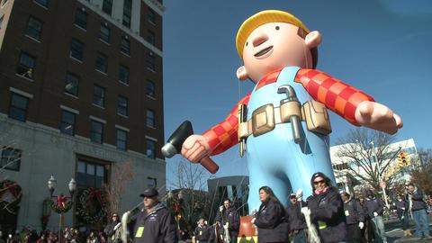 Bob the Builder balloon at parade Stock Video Footage