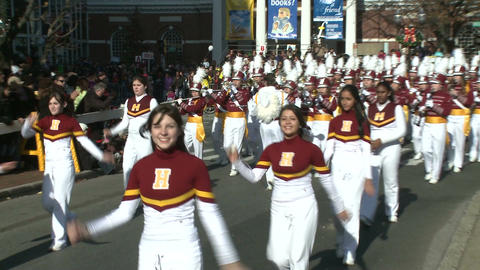Band marches during city parade (2 of 2) Stock Video Footage