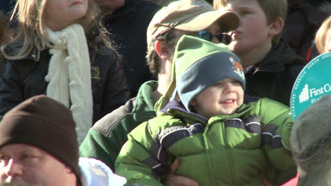 Happy kids at parade Stock Video Footage