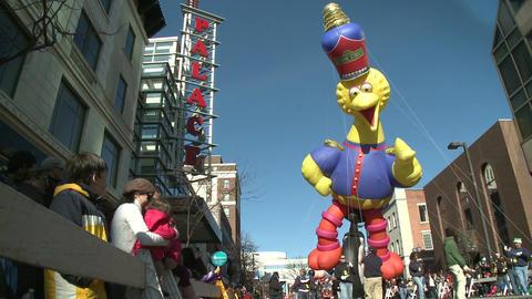 Big Bird balloon at parade Stock Video Footage