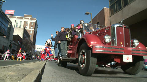 Old school fire engine at parade Footage