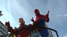 Superhero float at parade Stock Video Footage