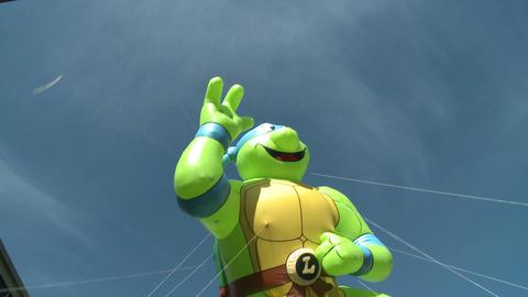 Teenage Mutant Ninja Turtles balloon at parade Footage