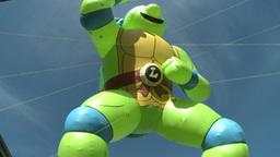 Teenage Mutant Ninja Turtles balloon at parade Stock Video Footage