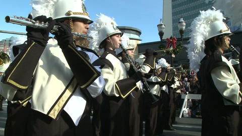 Drumline perform at parade (4 of 5) Stock Video Footage