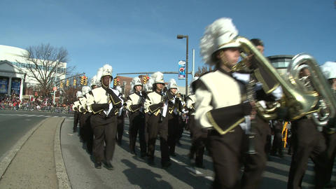 Drumline perform at parade (2 of 5) Stock Video Footage