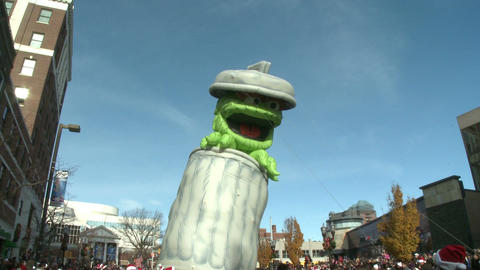 Giant Oscar the Grouch balloon Stock Video Footage