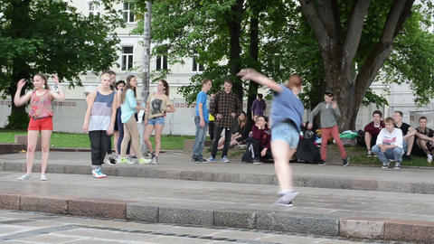 Young teenager girl in shorts perform street modern dance Stock Video Footage