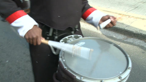 Closeup of drummers in marching band Stock Video Footage