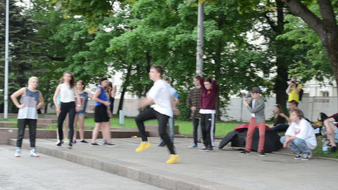 Group of young teenagers perform modern street dances... Stock Video Footage
