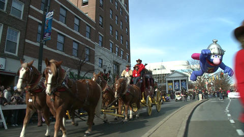 Horses and stage coach at parade Stock Video Footage