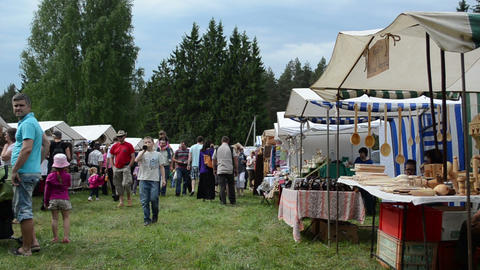 Outdoor fair trade in goods of folk art Stock Video Footage