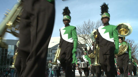 Marching band performs at parade (1 of 5) Stock Video Footage