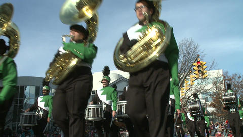 Marching band performs at parade (1 of 5) Footage