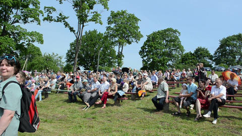 People audience enjoy ranger police riders in horse festival Stock Video Footage