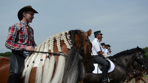 horse plait of mane fringe and cowboy man and police rangers Footage