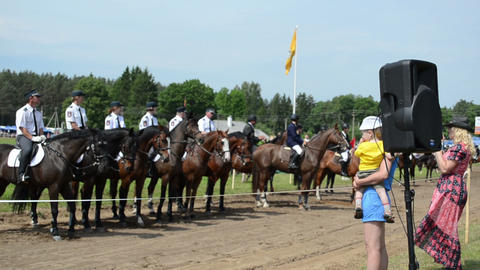 police riders in public horse festival and rewards near... Stock Video Footage