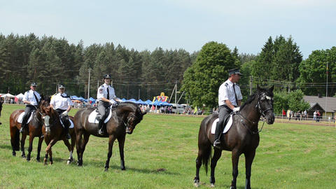 Mounted police horse riders demonstration performance Footage