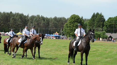 Mounted police horse riders demonstration performance Stock Video Footage