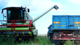Concept Of Mechanized Agriculture.Combine Harvester... Stock Video Footage