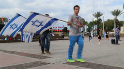 Bnei Akiva Israeli youth group holding flags Stock Video Footage