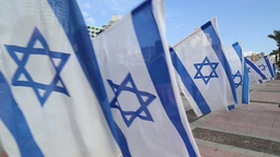 Bnei Akiva youth with flags of Israel Stock Video Footage