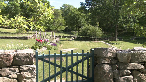 Stone walled garden Stock Video Footage